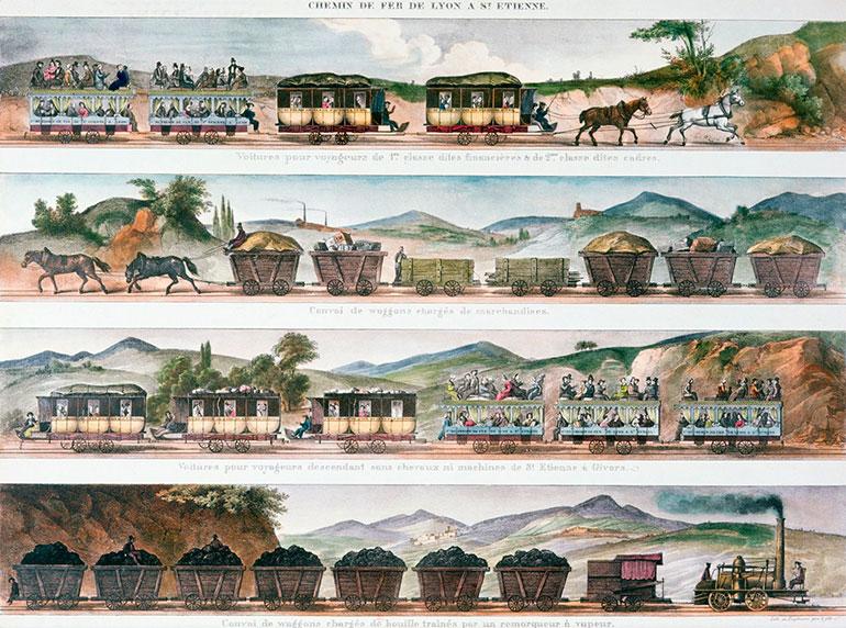 Railway between Lyon and Saint-Etienne, Engelmann, 1839, colour lithography, SARDO Centre national des archives historiques SNCF