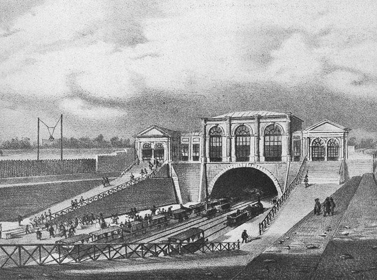 Boarding area in Paris for Saint-Germain in 1837, published in the book Histoire de la locomotion terrestre: les chemins de fer by Charles Dollfus and Edgar de Geoffroy, 1935, page 43 of 376, Cité du Train collection