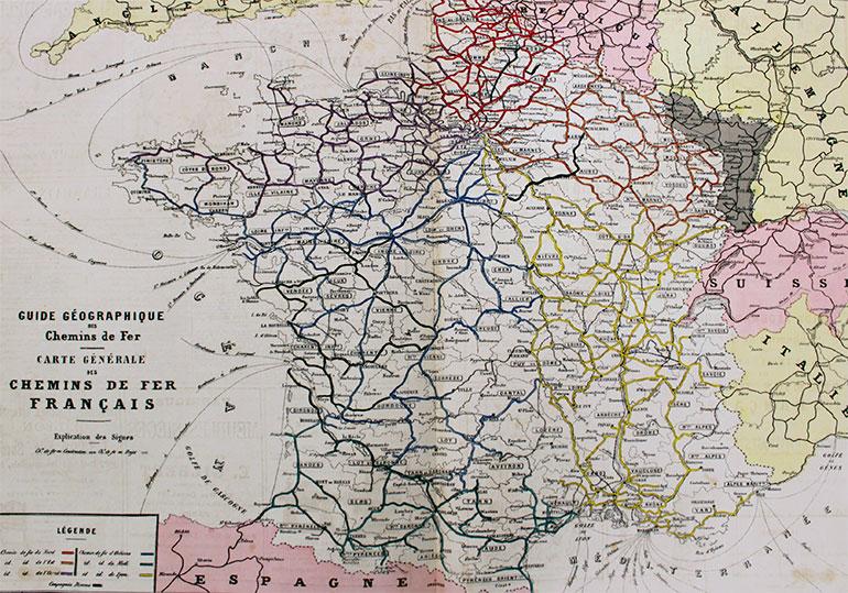 General map of the French railways, published in Guide géographique des chemins de fer, Potier et Cie éditeurs, 1879, pages 47 and 48 of 70, Cité du Train collection