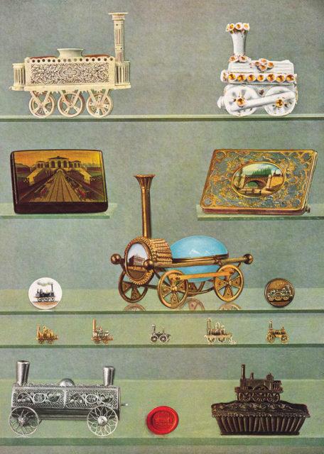 Objects commemorating the early railways, published in the book Histoire de la locomotion terrestre: les chemins de fer, Charles Dollfus and Edgar de Geoffroy, 1935, page 42 of 376, Collection Cité du Train