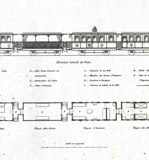 Lateral elevation of the train of Napoleon III, n.d., La Vie Du Rail collection