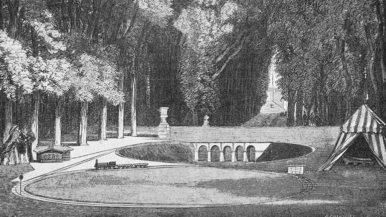 Miniature railway made for the imperial prince in the park of Saint-Cloud in 1859, published in the book Histoire de la locomotion terrestre: les chemins de fer by Charles Dollfus and Edgar de Geoffroy, 1935, page 97 of 376, Cité du Train collection