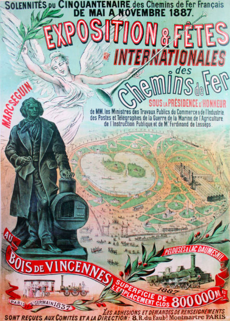 Railway exposition & international festivals, poster for the fiftieth anniversary of the French railways, 1887, Cité du Train collection