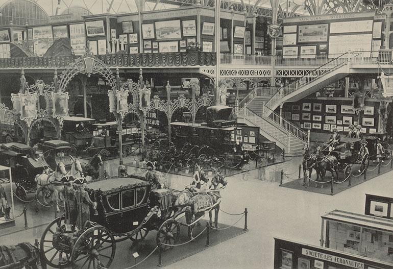Universal exposition of 1900//Pavilion for civil engineering and means of transport (Champ de Mars - Near avenue de Suffren)/Centennial museum of means of transport. Photo: Louis Larger, Musée Carnavalet, Histoire de Paris