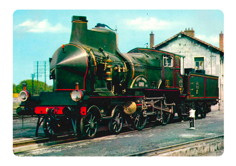"Locomotive ""Coupe-Vent"" C145 PLM (1900), carte postale"