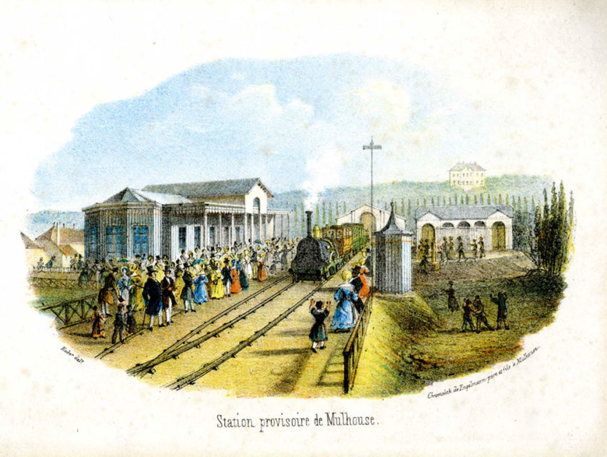 Temporary station in Mulhouse, Engelmann père & fils, engraving, 1839, Municipal Archives of Mulhouse, 87 Fi 145