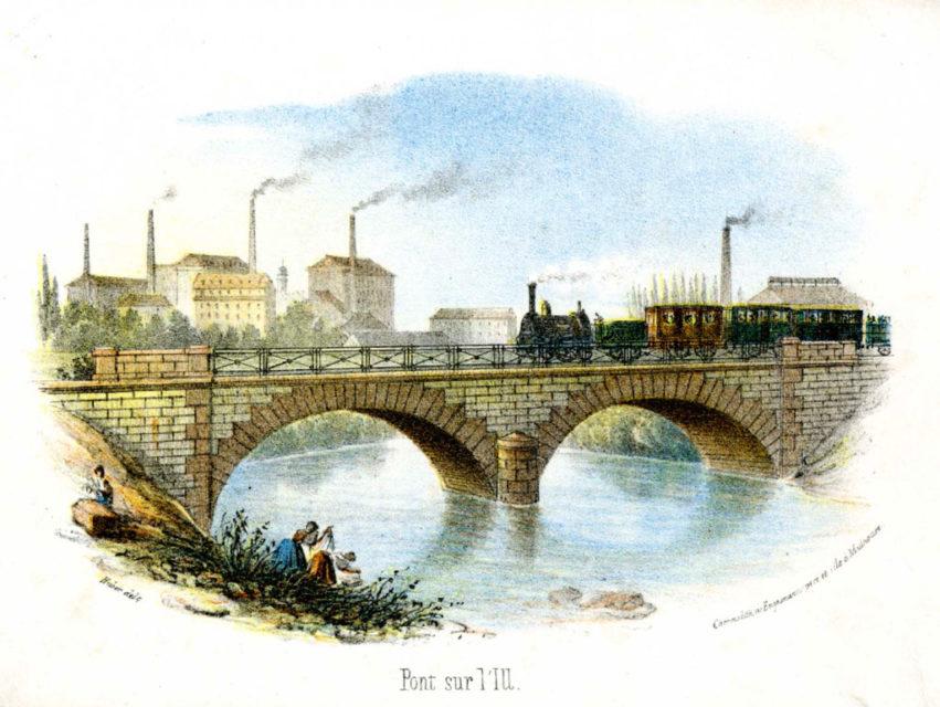 Bridge on the Ill, Engelmann père & fils, engraving, 1839, Municipal Archives of Mulhouse, 87 Fi 146