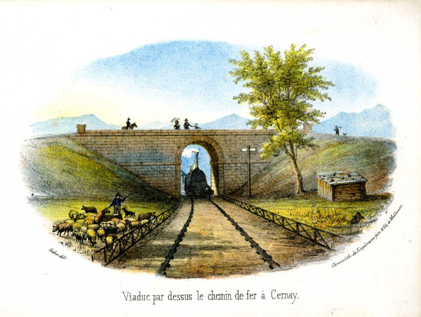 Viaduct over the railway in Cernay, Engelmann père & fils, engraving, 1839, Municipal Archives of Mulhouse, 87 Fi 151
