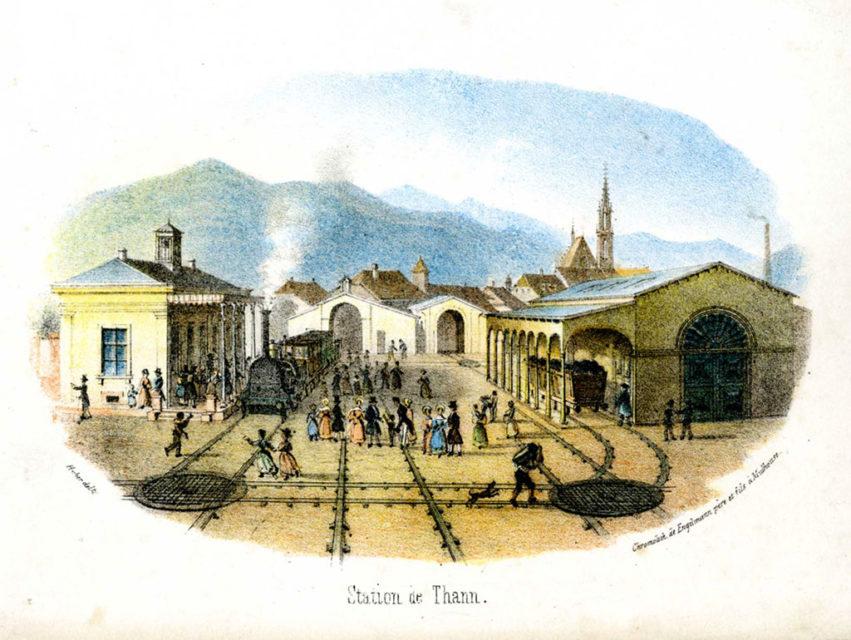 Thann station, Engelmann père & fils, engraving, 1839, Municipal Archives of Mulhouse, 87 Fi 150