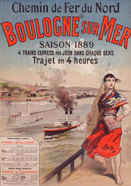 Boulogne-sur-mer: season 1889, Jules Cheret, 31 December 1889, poster on paper printed for the Compagnie du chemin de fer du Nord