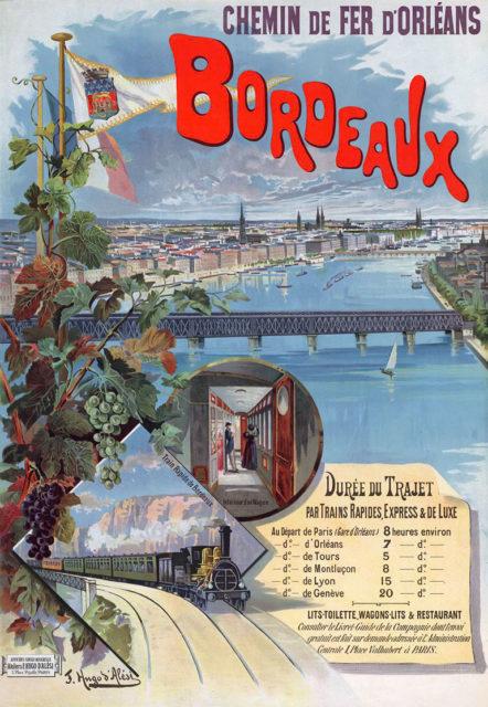 Bordeaux, Hugo d'Alesi, 31 December 1896, poster on paper printed for the Compagnie du chemin de fer de Paris à Orléans