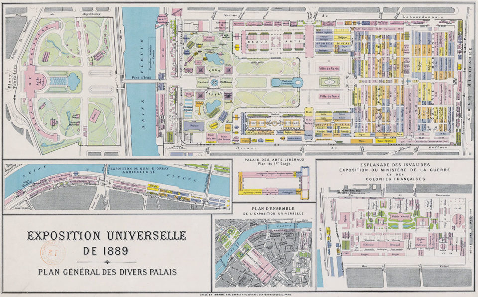 Universal exposition of 1889. General plan of the different pavilions, 1889, Bibliothèque nationale de France, Maps and plans department