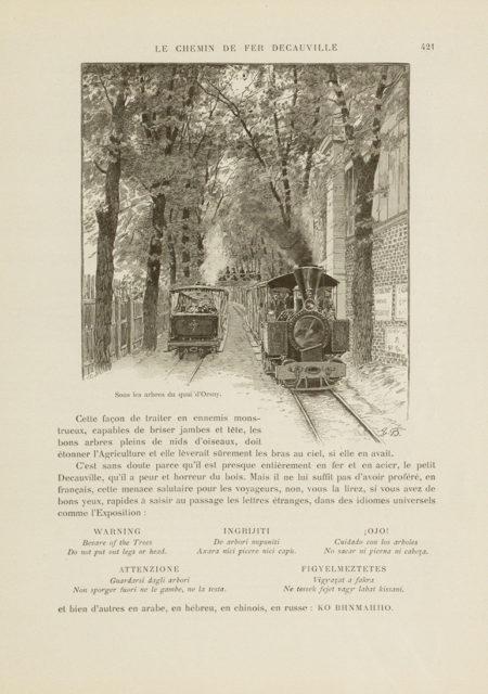 Under the trees on the quai d'Orsay, unknown, n.d., engraving, published in Revue de l'Exposition universelle de 1889, page 421, Universitätsbibliothek Heidelberg