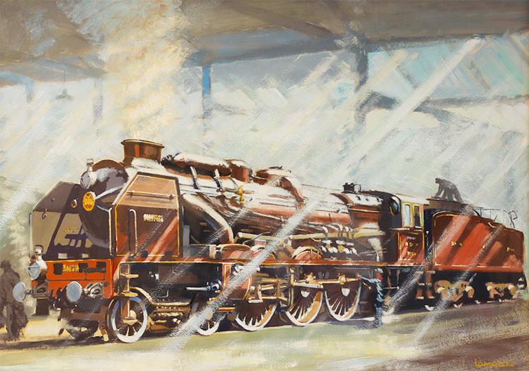 Pacific Chapelon Nord locomotive at the La Chapelle depot around 1936, Michel Lamarche, 1936, oil on paper, 64 cm x 90 cm, Cité du Train collection