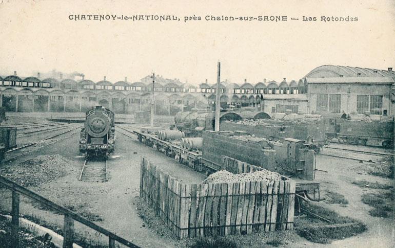 Châtenoy-le-national, près Chalon-sur-Saône -Les rotondes, s.d., carte postale, Collection Cité du Train