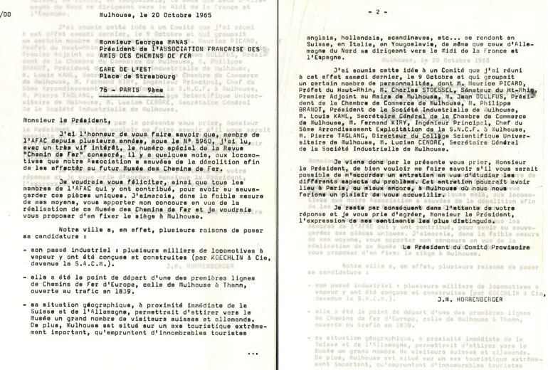 Letter from Jean-Mathis Horrenberger to Georges Manas, 20 October 1965, Cité du Train collection