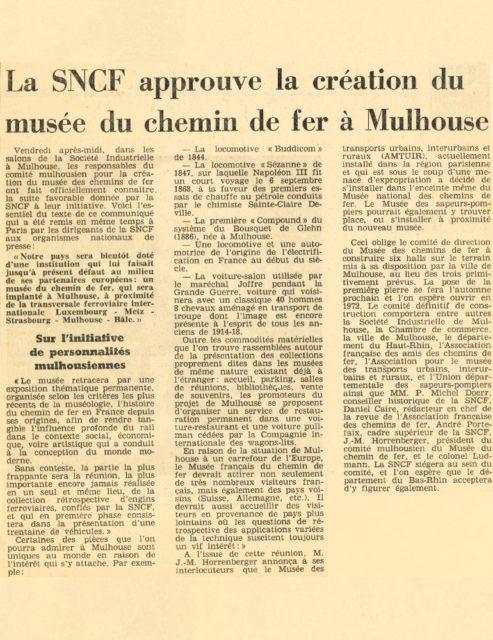 La SNCF approuve la création du musée du chemin de fer à Mulhouse, article from Dernières Nouvelles d'Alsace, 28 July 1969, Cité du Train collection