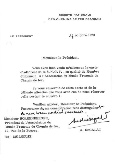 Letter from André Ségalat to Jean-Mathis Horrenberger, 14 October 1970, Cité du Train collection