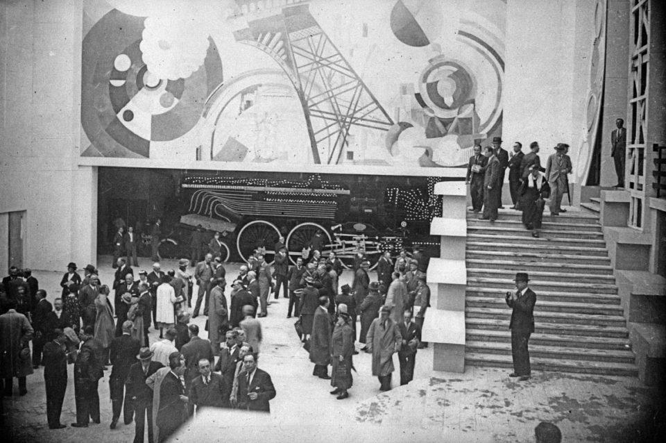 International exposition of arts and techniques, Paris 1937: the Railways pavilion, press photograph, 1937, Bibliothèque nationale de France, Stamps and photographs department, EI-13