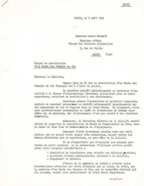 Lettre de Michel Doerr à André Malraux, 06 août 1964, Collection Cité du Train