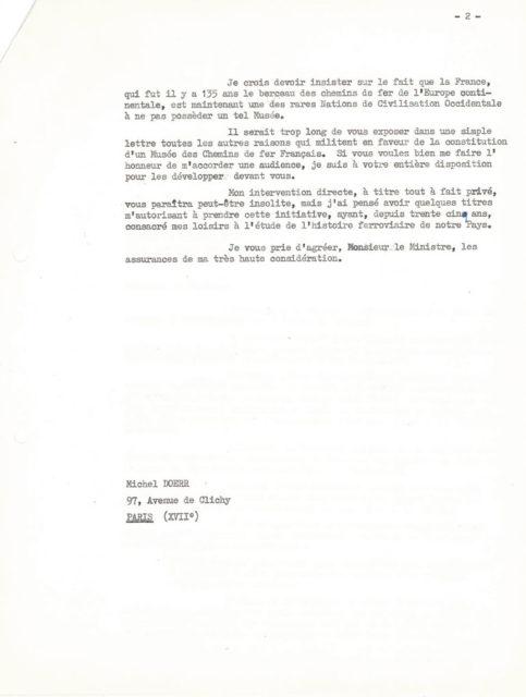 Letter from Michel Doerr to André Malraux, 6 August 1964, Cité du Train collection