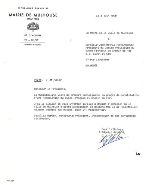 Lettre du maire de la ville de Mulhouse à Jean-Mathis Horrenberger, 03 juin 1969, Collection Cité du Train, conservée aux Archives Municipales de Mulhouse