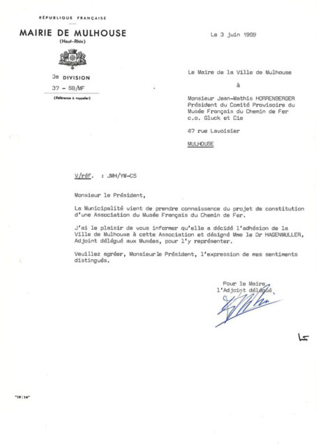 Letter from the mayor of Mulhouse to Jean-Mathis Horrenberger, 3 June 1969, Cité du Train collection, conserved in the Municipal Archives of Mulhouse