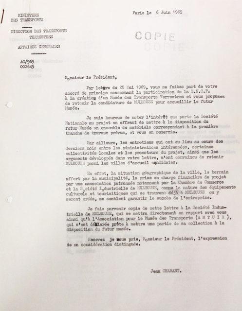 Lettre de Jean Chamant, ministre des transports au président du Conseil d'Administration de SNCF, 06 juin 1969, Collection Cité du Train, conservée aux Archives Municipales de Mulhouse