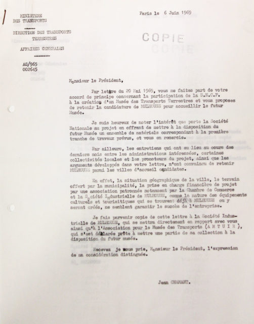 Letter from Jean Chamant, Minister for Transports, to the chairman of the board of directors of SNCF, 6 June 1969, Cité du Train collection, conserved in the Municipal Archives of Mulhouse