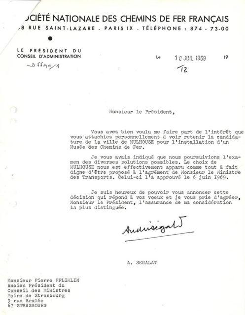 Lettre de André Ségalat à Pierre Pflimlin, 10 juillet 1969, Collection Cité du Train, conservée aux Archives Municipales de Mulhouse