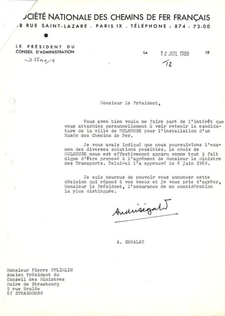 Letter from André Ségalat to Pierre Pflimlin, 10 July 1969, Cité du Train collection, conserved in the Municipal Archives of Mulhouse