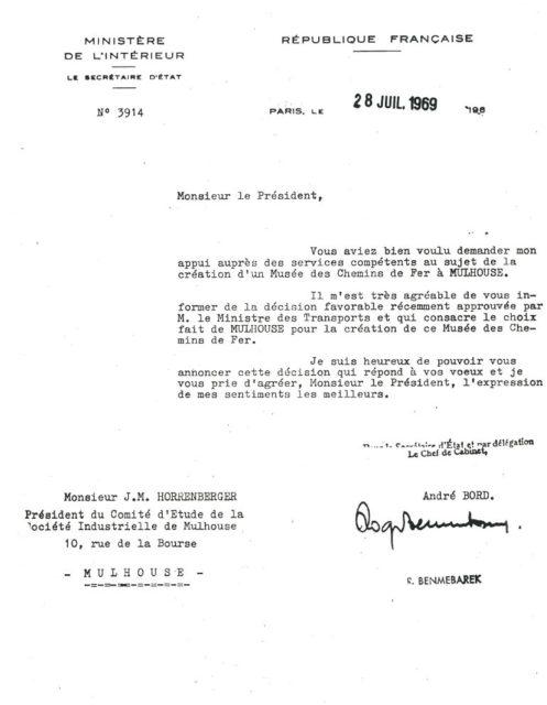 Lettre de André Bord à Jean-Mathis Horrenberger, 28 juillet 1969, Collection Cité du Train, conservée aux Archives Municipales de Mulhouse