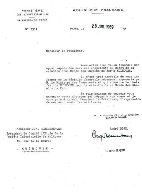 Letter from André Bord to Jean-Mathis Horrenberger, 28 July 1969, Cité du Train collection, conserved in the Municipal Archives of Mulhouse