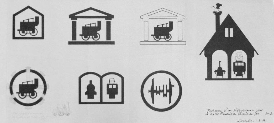 Search for a pictogram for the future railways museum, 9 and 11 July 1969, Mr Lamarche, Cité du Train collection, conserved in the Municipal Archives of Mulhouse