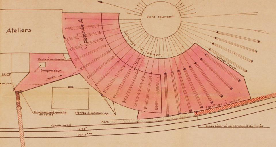 Mulhouse-North, French Railways Museum, Building zones, plan on paper, October 1970, Cité du Train collection