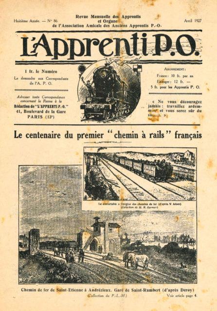 Cover of Revue Mensuelle des Apprentis et Organe de l'Association Amicale des Anciens Apprentis P.O., Year 8, no 86, April 1927, Cité du Train collection