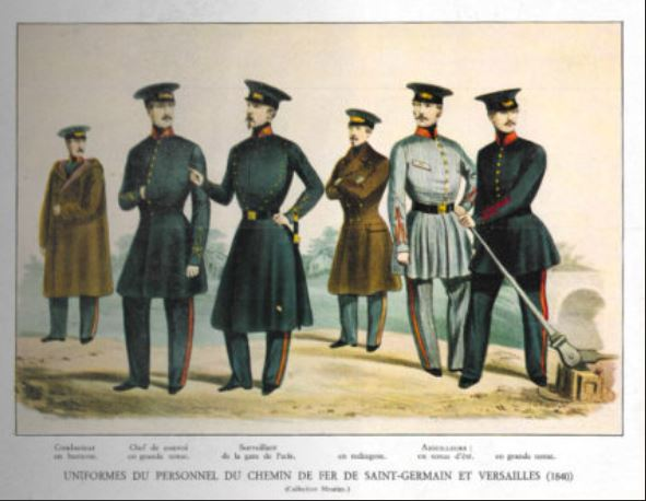 Uniforms of the personnel of the railways of Saint-Germain and Versailles (1840), published in Histoire de la locomotion terrestre : les chemins de fer, Charles Dollfus and Edgar de Geoffroy, 1935, page 104 of 376, Cité du Train collection