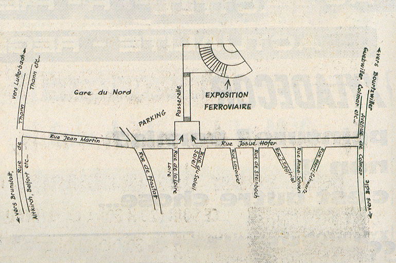 Map from the article Getting to the Railways Museum exhibition, in L'Alsace, 19 June 1971, Municipal Library of Mulhouse