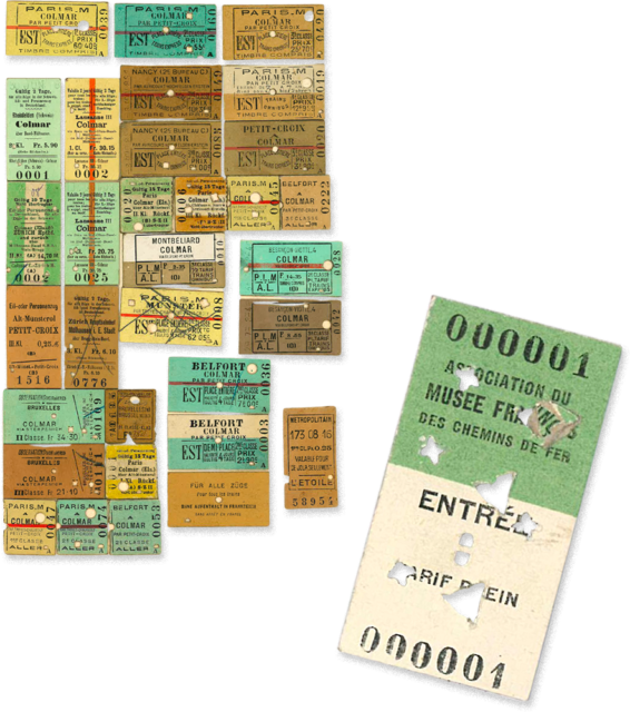 Old railway tickets (left) n.d., Cité du Train collection, stored in the Municipal Archives of Mulhouse, and first ticket to the French Railways Museum (right), 1971, Cité du Train collection
