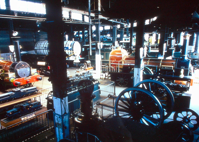 Interior view of the museum in the half roundhouse of Mulhouse North, n.d., Cité du Train collection