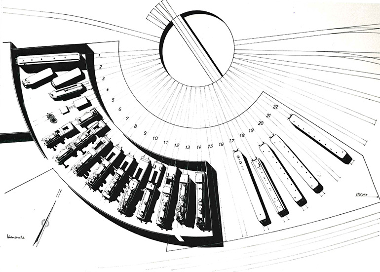 Michel Lamarche, Plan of the installation planned in the half roundhouse of Mulhouse North, n.d., Cité du Train collection