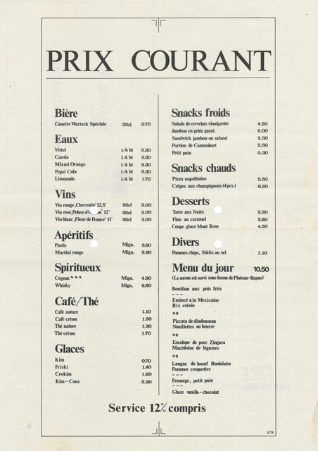 Prices of items sold in the museum restaurant, May 1974, Cité du Train collection