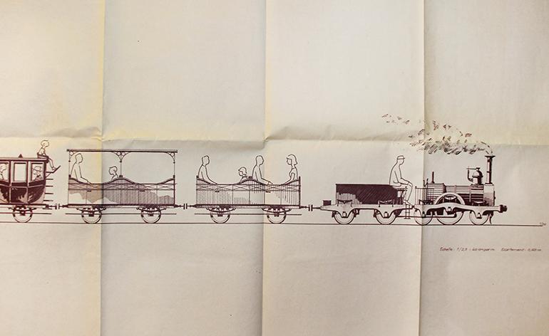 Michel Lamarche, Miniature train, drawing, n.d., Cité du Train collection, stored in the Municipal Archives of Mulhouse