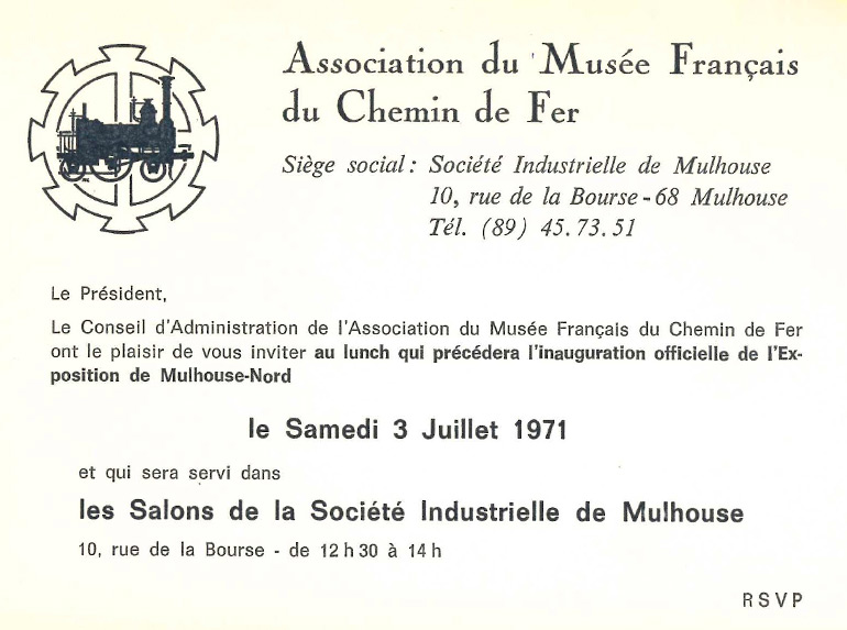 Invitation card for the official inauguration lunch of the half roundhouse of Mulhouse North, 3 July 1971, Cité du Train collection
