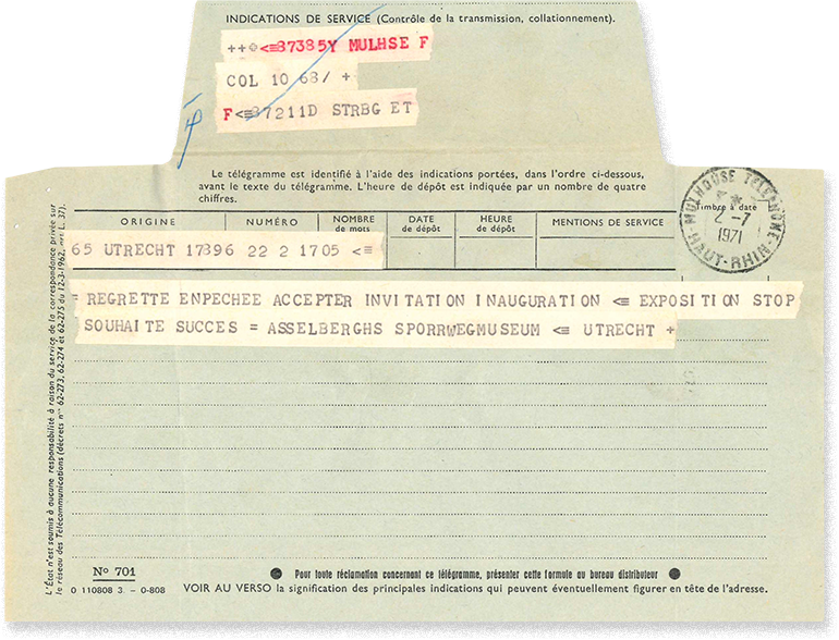 Telegram of the reply from the Utrecht railways museum to its invitation to the French Railways Museum, 2 July 1971, Cité du Train collection