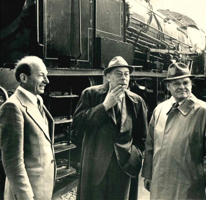 Pierre-Yves Schoen (left) and Michel Doerr (centre), n.d., Cité du Train collection