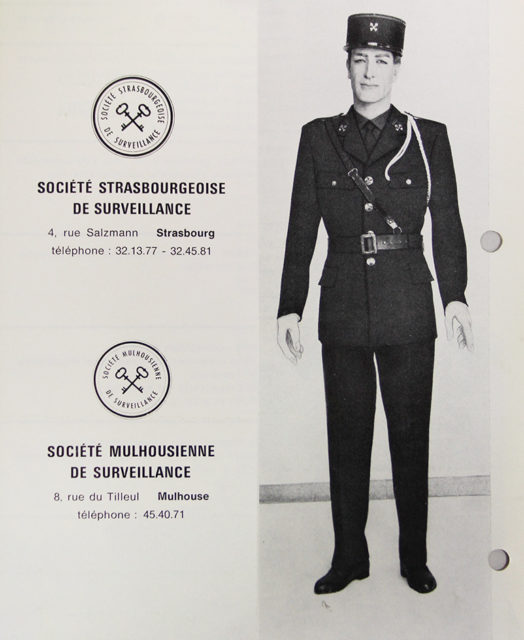 Advertisement for the security company, Cité du Train collection, stored in the Municipal Archives of Mulhouse