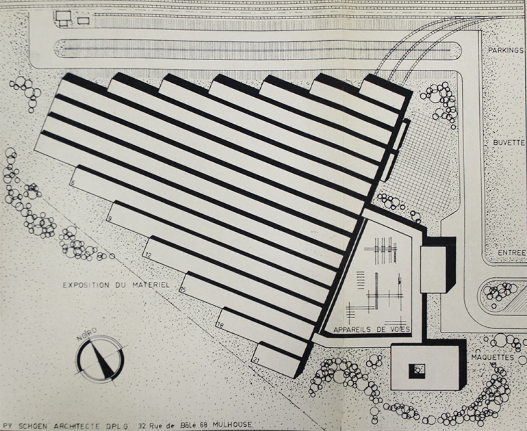 Pierre-Yves Schoen, Plan of the French Railways Museum in Dornach, n.d., Cité du Train collection, stored in the Municipal Archives of Mulhouse