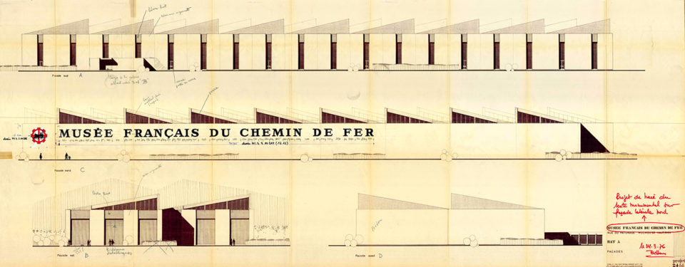 Pierre-Yves Schoen, plan of building A, façades, August 1974, modified on 24 March 1976, Cité du Train collection