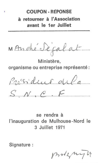 Reply coupon for the inauguration of Mulhouse North of 3 July 1971 of Mr Segalat, Chairman of the board of directors of SNCF